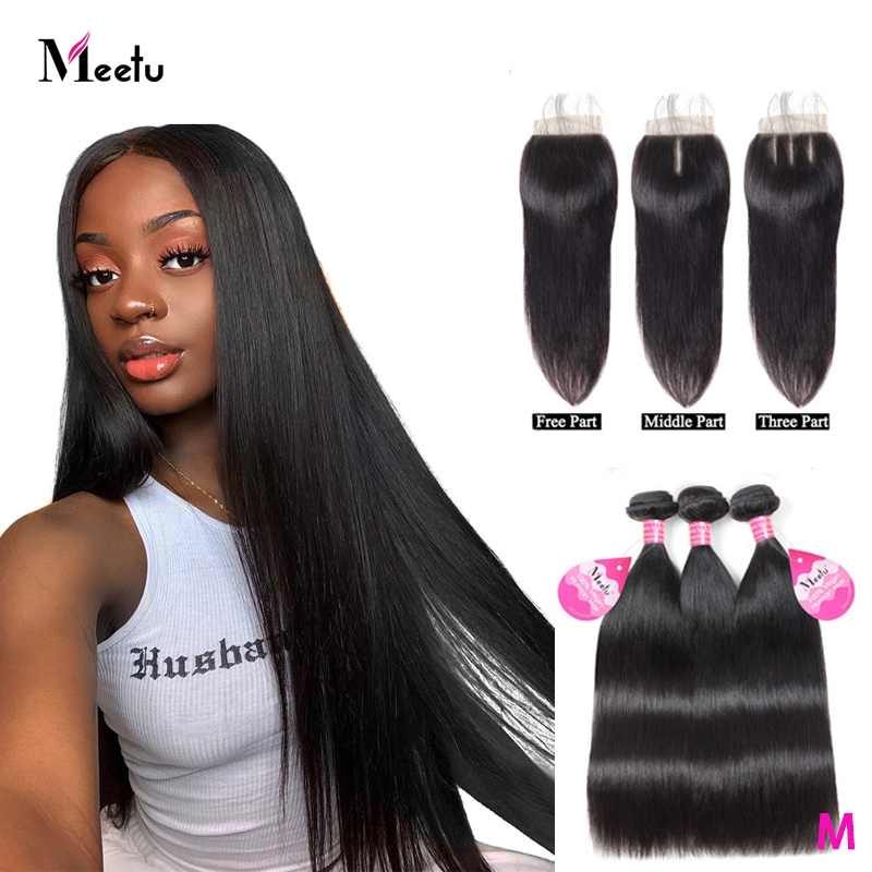 Meetu Indian Straight Hair Bundles With Closure Human Hair Bundles With Closure Non Remy 3 Bundles With Closure 4x4 Lace Closure