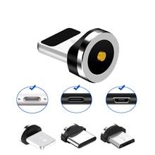Uniwersalny okrągły kabel magnetyczny wtyczka Micro USB/typ C / 8 Pin Adapter (tylko wtyczka magnetyczna) magnes Cabo złącze wtyczki przeciwpyłowe