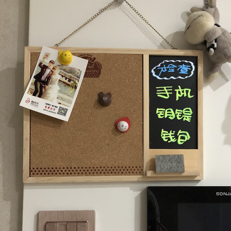 Creative Hanging Blackboard Message Board Wooden Memo Notice Board Home Cork Board Wall Photo Decorative Office Supply