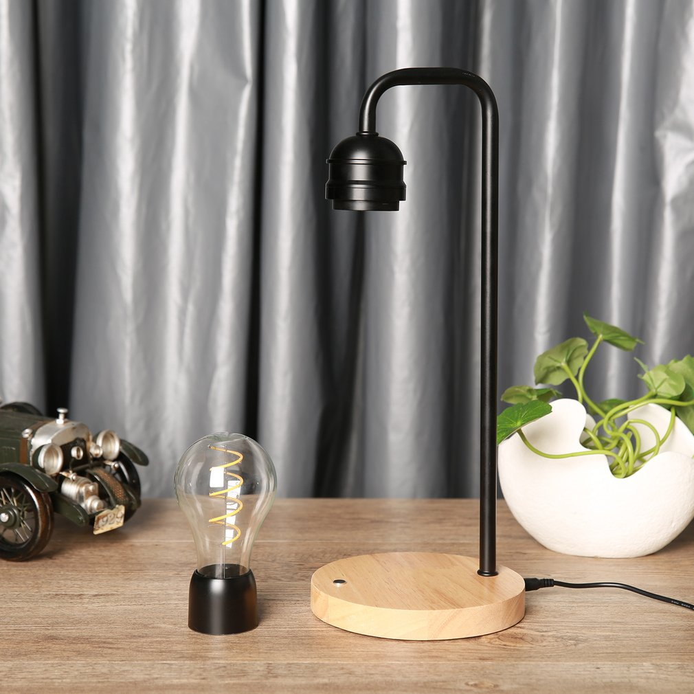 Magnetic Levitation Light Bulb Office Home Creative Desk Lamp Hanging Magic Black Technology Wireless Charging Black