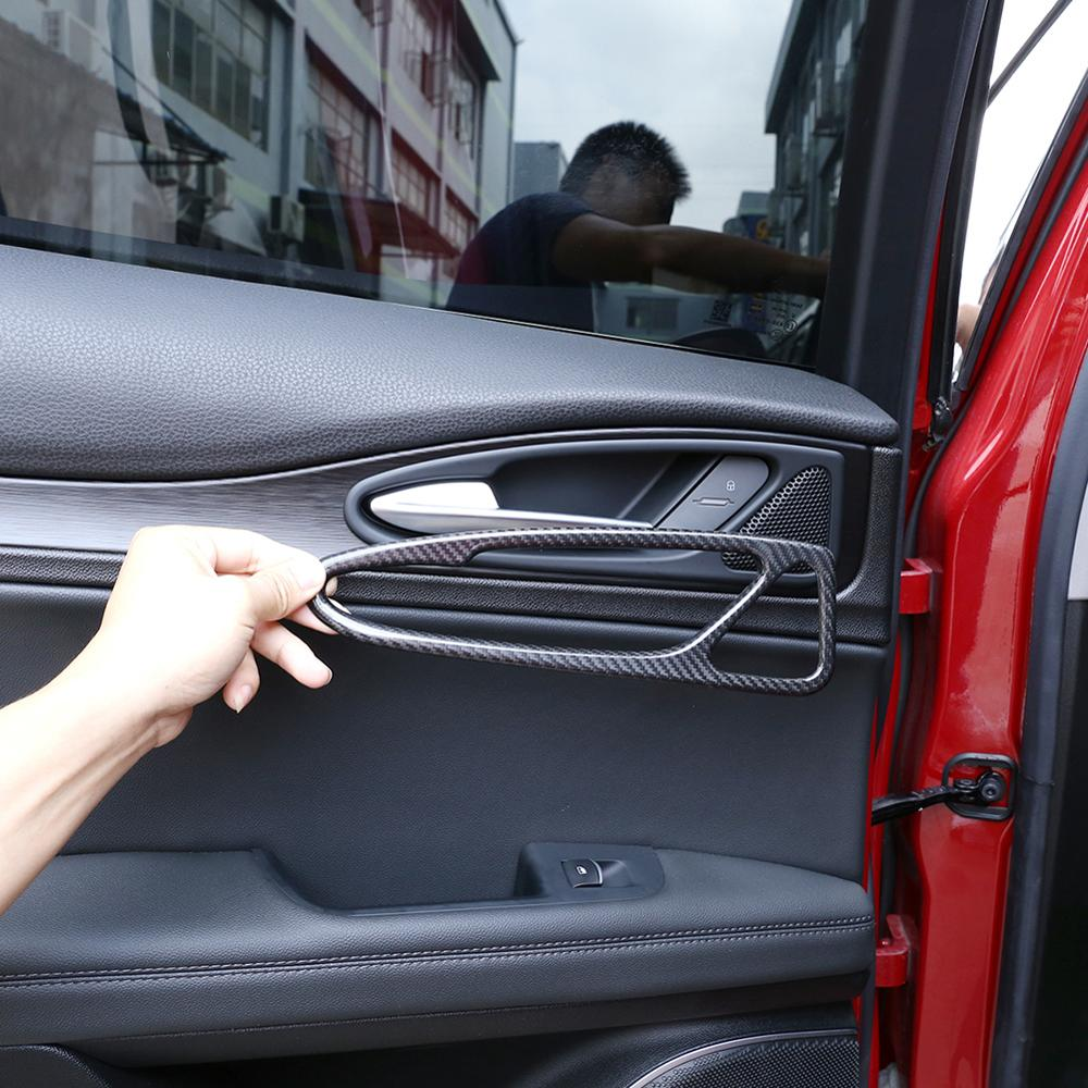 4pcs Real Carbon Fiber Stickers Car Interior Door Handle Frame Trim for Alfa Romeo Stelvio 2017 2020 Models Accessories|Automotive Interior Stickers|   - AliExpress