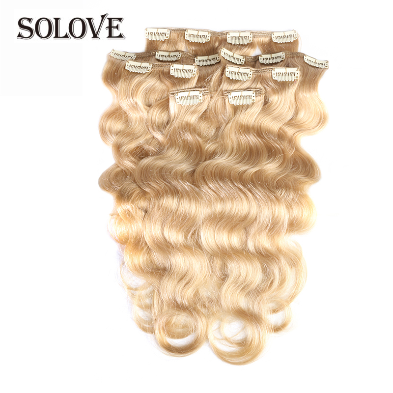 """Full Head Brazilian Machine Made Remy Hair #60 Blonde 12""""-24""""Body Wave Clip In Human Hair Extensions"""