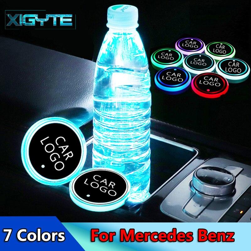 2X New Fashion Car Styling Logo Light LED Cup Drink Holder Anti Slip For AMG Mercedes Benz W212 W211 W210 GLC Car Accessories