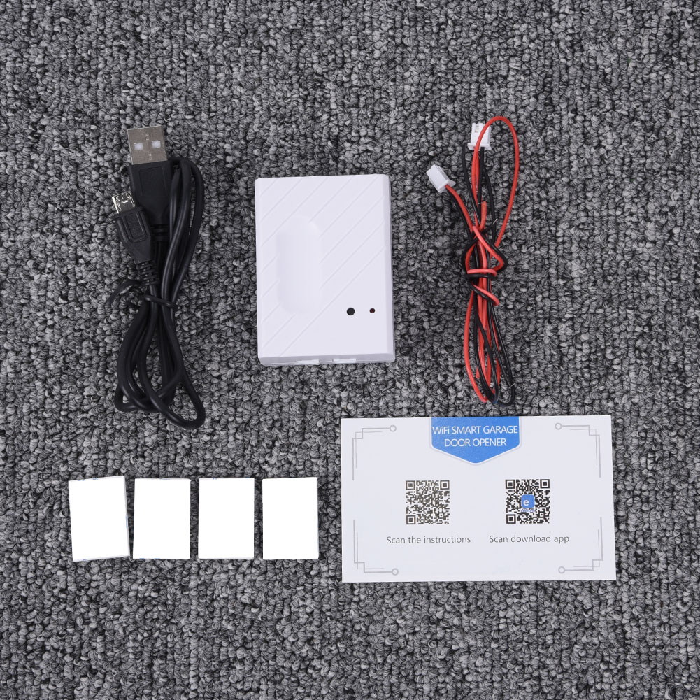 Smart WiFi Garage Door Switch Kit Wire USB Cable Tape Easily Installation Gate Opener Remote Controller Accessories