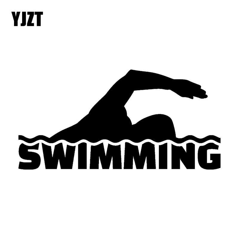 YJZT 16.7CM*8.3CM Swimmer Swimming Pool Water Sports Nice-quality Decor Car Accessories Car-Styling Stickers C31-0210
