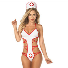 Women Fashion Sexy Uniform Hollow Out Suit Lingerie Temptation Underwear Jumpsuit Miss Nurse Erotic Costumes mujer erotica n50