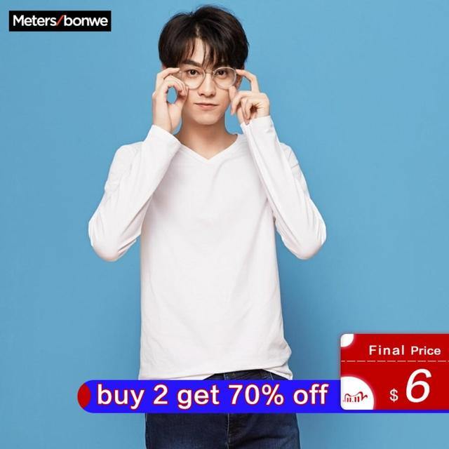 METERSBONWE Mens T shirt Solid Color Cotton New Autumn Long Sleeve T Shirt Slim V Neck Solid Color Pullover Student Sports Top