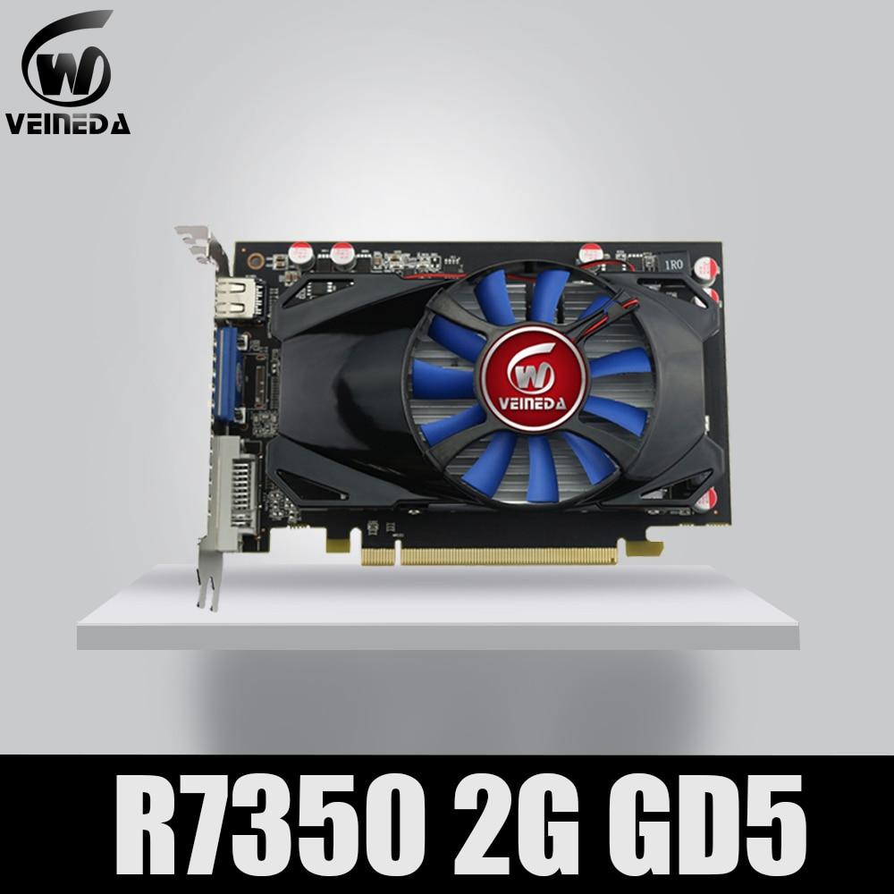 Original Desktop GPU Graphics Card Veineda R7 350 2GB GDDR5 128Bit Independent Game Video Card R7-350 For ATI Radeon Gaming
