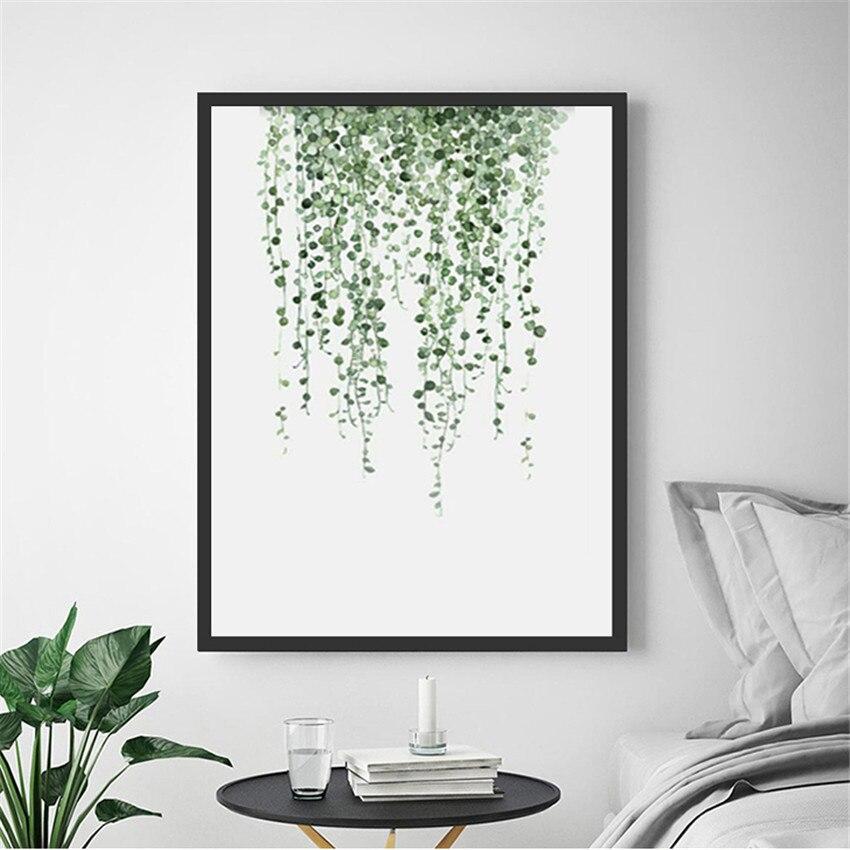 Настенный декор, плакаты, постер с листьями, зеленая Картина на холсте, настенные художественные принты, картины с листьями, украшение для б...