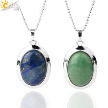 CSJA Oval Natural Gem Stone Pendant Necklaces Reiki Cabochon Crystal Beads Small Pendants for Women Girl Cute Charm Jewelry F564