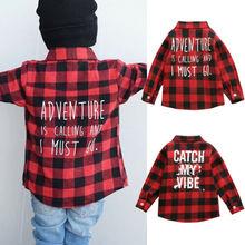 Новая рубашка в красную клетку с длинными рукавами и буквенным принтом и карманами для маленьких мальчиков и девочек топы, Рождественская одежда От 1 до 6 лет