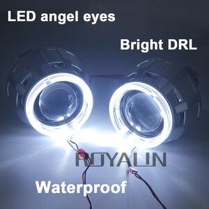 Image 5 - ROYALIN DRL ثنائية زينون مصباح هالوجين عدسة LED عيون الملاك العارض H1 H4 H7 سيارة مصابيح دراجة نارية التحديثية الأبيض هالو خواتم