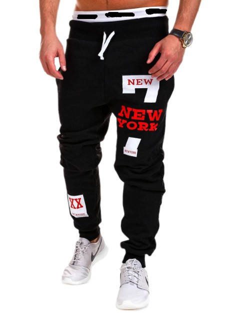 Spring And Autumn New Style Men's With Numbers Printed Letter Casual Athletic Pants Large Size Beam Leg Trousers
