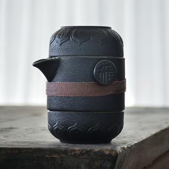 LUWU black ceramic teapots with 2 cups a tea sets portable travel office tea set drinkware
