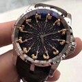 12 Cavaleiro Vestido de Homens de Negócios de luxo Relógios EXCALIBUR Top Homem Do Esporte Militar relógios de Pulso de Couro Relógio de Quartzo Homens RDDBEX0495
