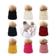 Женские шерстяные шапочки шапка из натурального меха с помпонами