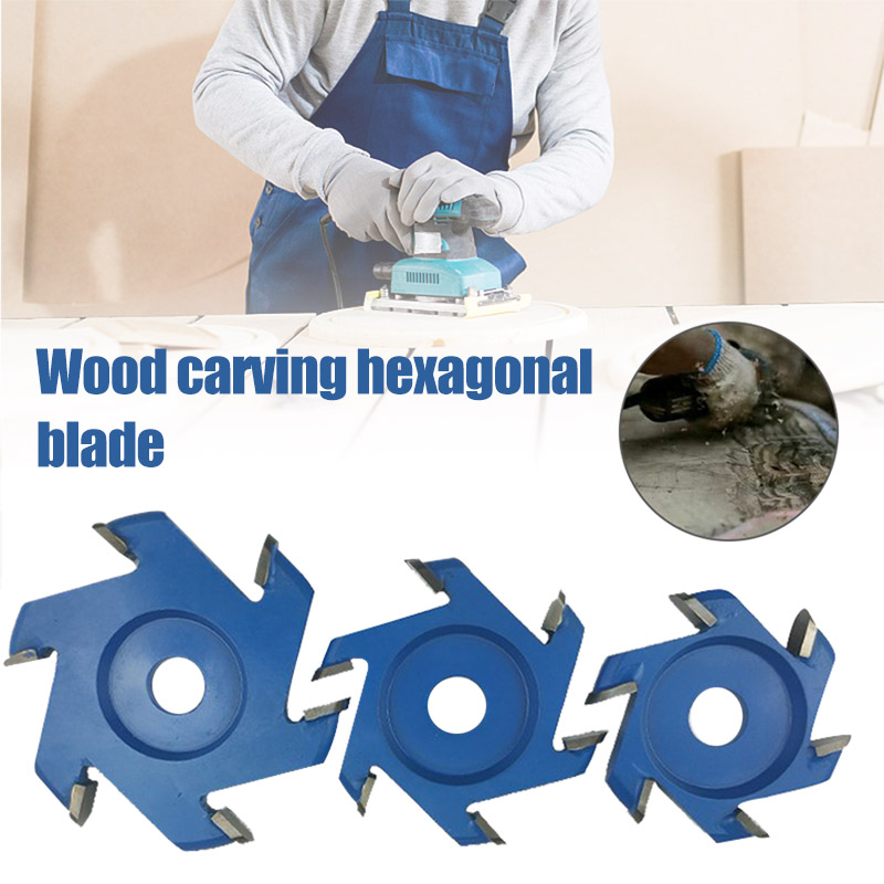 Power Disc Wood Carving Hexagonal Blades Tool Attachment For 16mm Aperture Angle Grinder S7 #5