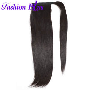 Human-Hair Ponytail-Extensions Tailbrazilian Clip-In Straight Wrap Around 1-Piece