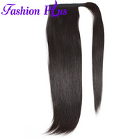 Straight Brazilian Human Hair Drawstring Ponytail Clip in Ponytail Extensions Wrap Around TailBrazilian Remy Hair 1 Piece