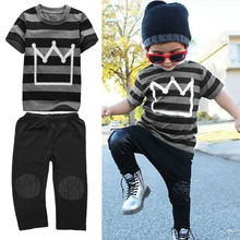 2017 Brand New 2PCS Newborn Toddler Infant Kid Gift Baby Boy Girl Clothes Little Ear Hoodie T-shirt Top+Pants Striped Outfit Set newborn kids outfit baby boy girl clothes hoodie sweatshirttops pants gift sets