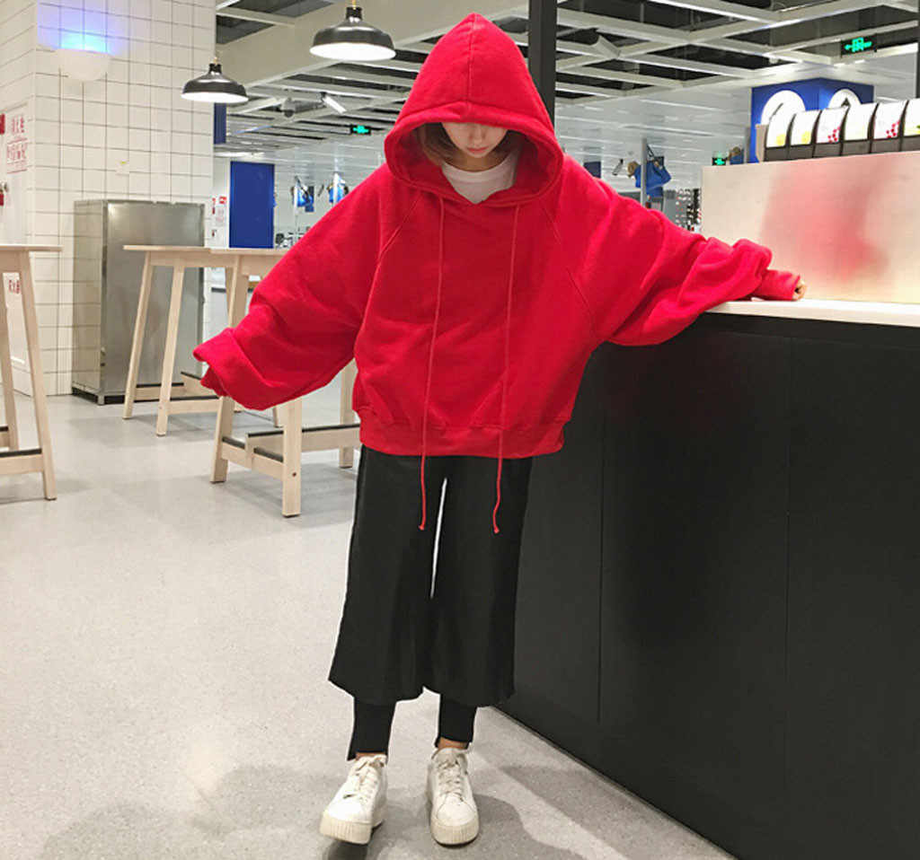 Oversize Hoodie Harajuku Vrouwen Mode Losse Effen Kleur Hooded Lantaarn Mouwen Sweatshirt Hoodie Koreaanse Truien Uitloper