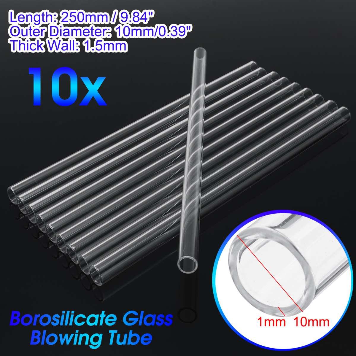 Wholesale 10x Laboratory 250x10x1.5mm Test Tube Transparent School Tool Glass Buret Mixer Glass Stirring Rod Lab Stiring Stirrer