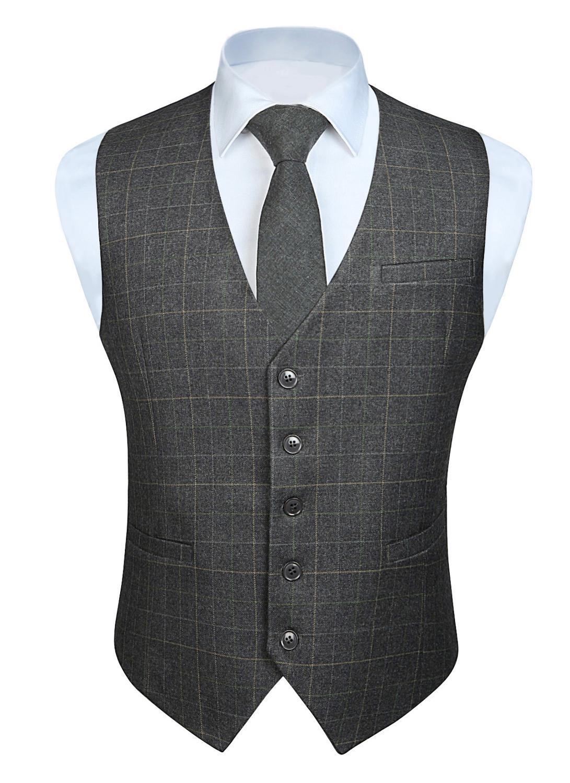 Fashion Solid Color Men's Wedding Business Formal Dress Vest Suit Slim Fit Casual Tuxedo Plaid Waistcoat
