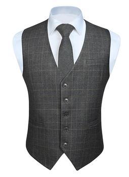 Moda jednokolorowa męska biznesowa suknia ślubna garnitur z kamizelką Slim Fit Casual Tuxedo Plaid kamizelka tanie i dobre opinie HISDERN Anglia styl COTTON SILK Kamizelki Light Grey Deep Grey Khaki