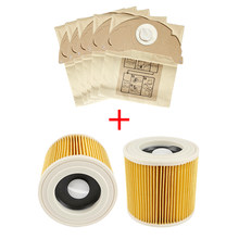 Hepa Filters + Dust Bags for Karcher WD2250 A2004 A2054 MV2 WD2 Vacuum Cleaner Bags Replacement Spare Parts Accessories