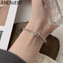 ANENJERY – Bracelet en argent Sterling 925 thaïlandais pour femmes, perle géométrique, chaîne à nœud, bijoux de fête, cadeaux
