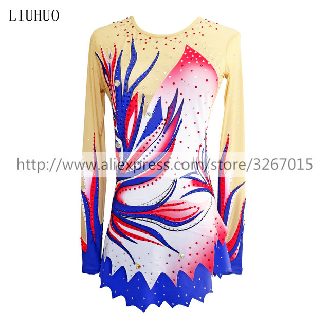 LIUHUO Women rhythmic gymnastics leotards for girls performance suit Artistic gymnastics dress Long sleeve Ice Skating dress