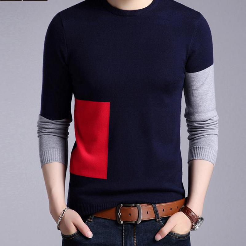 2019 New Fashion Sweaters Mens Pullovers Patch Work Slim Fit Jumpers Knit Woolen Autumn Korean Style Casual Men Clothes