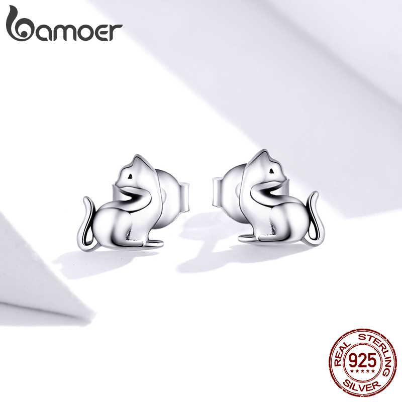 Bamoer GXE832 belle Kitty 925 boucles d'oreilles en argent Sterling chats ludiques mignon bijoux fins fille hypoallergénique boucles d'oreilles