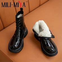 Platform-Heels Ankle-Boots Zipper Snow Women Plus-Size MILI-MIYA Lace-Up Sheep-Fur Round-Toe