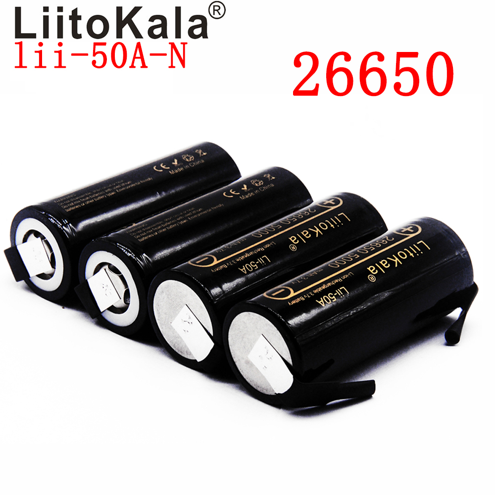 2020 NEW LiitoKala Lii-50A-N 26650 5000mah Lithium Battery 3.7V 5000mAh 26650 Rechargeable Battery  Suitable For Flashligh NEW