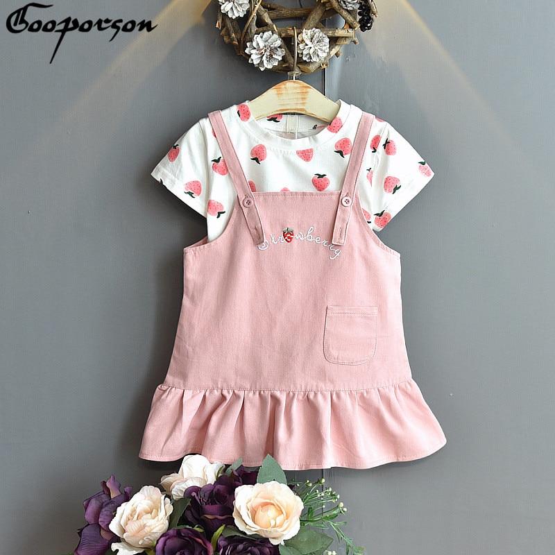Gooporson Kids Clothes Girls Strawberry Printed Shirt&letter Embroidery Strapless Skirt Fashion Korean Little Children Clothing