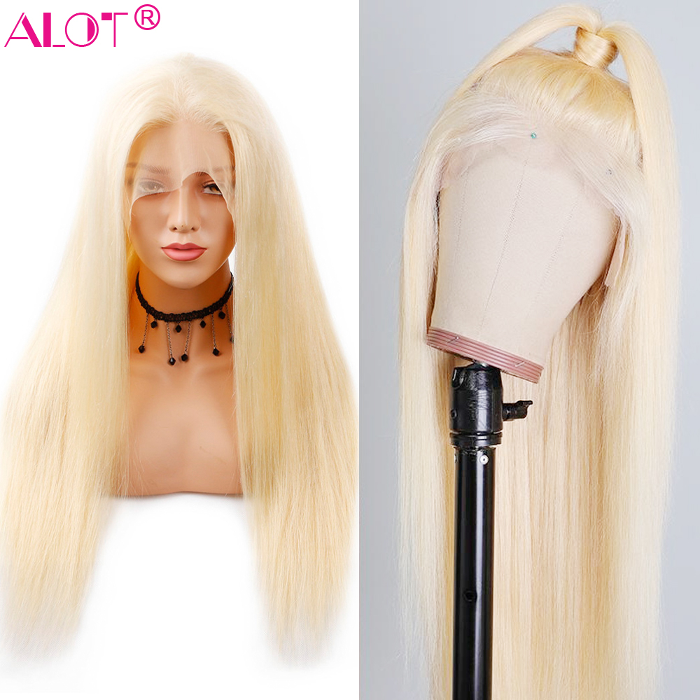 613 Blonde Brazilian Straight Human Hair Wig 150% Density Lace Part Wig With Baby Hair 613 Human Hair Wigs Pre Plucked Remy
