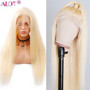 613 loira brasileiro em linha reta peruca do cabelo humano 150% densidade parte do laço peruca com cabelo do bebê 613 perucas de cabelo humano pré arrancadas remy
