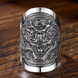 Image 3 - BALMORA 990 Pure Silver Kirin Animal Open Rings for Men Vintage Fashion Thai Silver Ring Gift Party Jewelry Anillos