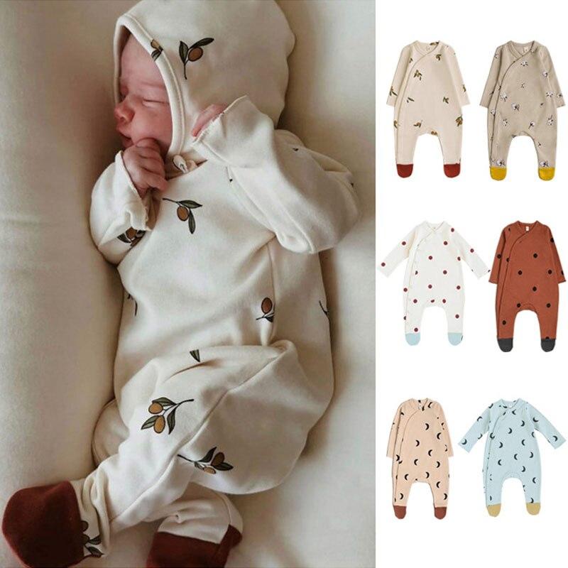 872.0¥ 31% OFF|0 24M Newborn Kid Baby Boy Girls Clothes Autumn Winter Print Romper Cute Sweet Cotto...