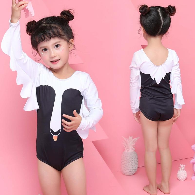 KID'S Swimwear Swan Girls Siamese Swimsuit Cute Baby Sun-resistant Set Triangular CHILDREN'S Small CHILDREN'S Hot Springs