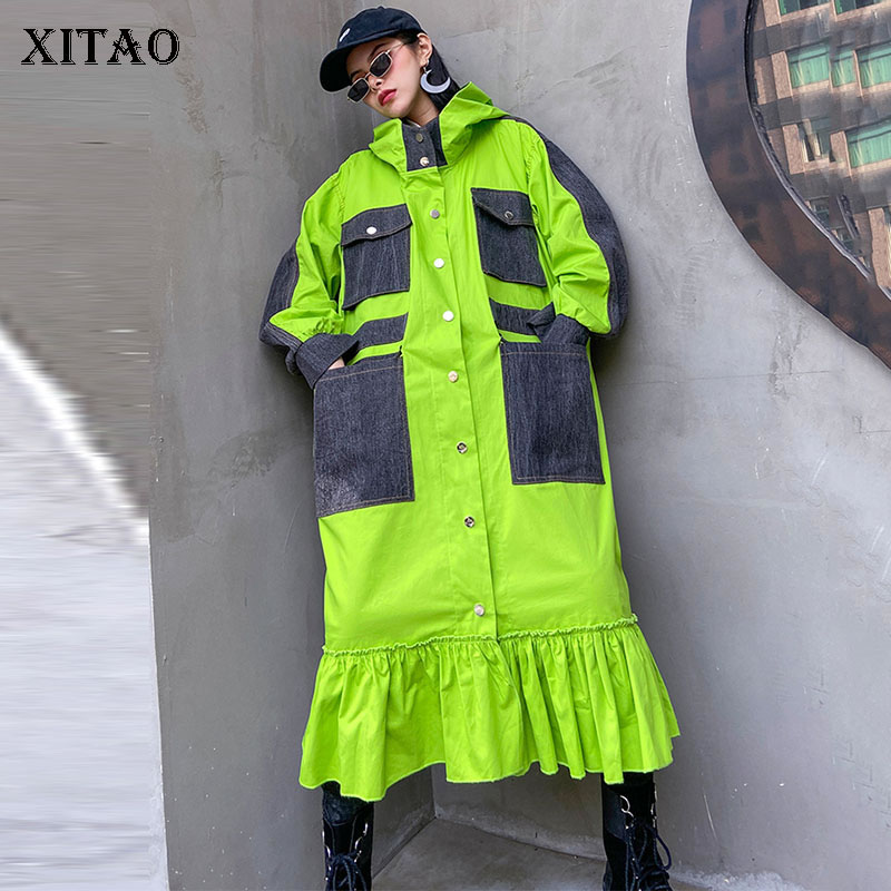 XITAO Plus Size Trench Women Fashion New 2020 Spring Elegant Small Fresh Pocket Pleated Hem Single Breast Coat Top GCC3393