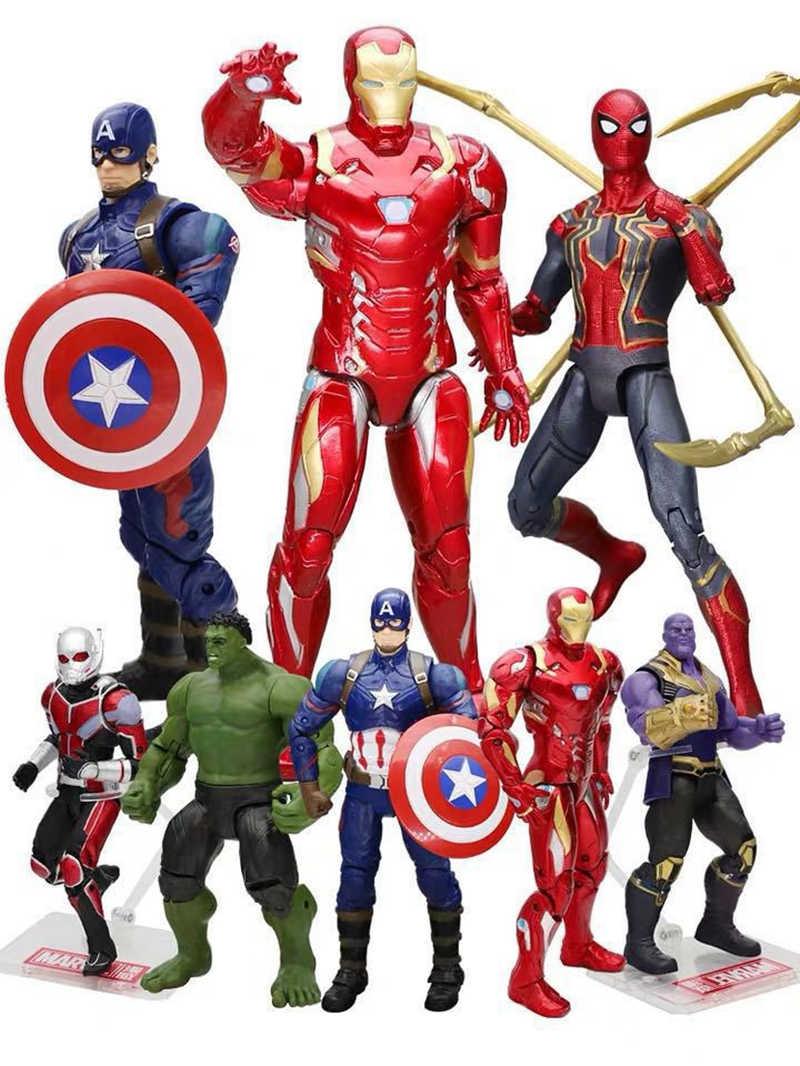 Die Avengers Action Figur Kapitän Amerikanischen Spiderman Black Widow Iron Man Batman X-männer Thor Thanos Hulk Figuren Spielzeug puppen