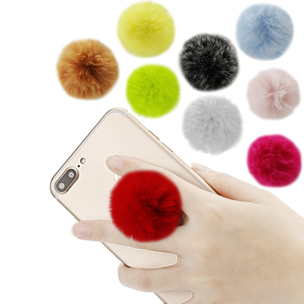Universal Fur Ball Cute Mobile Phone Socket Stand Bracket Expanding Stand And Grip Phone Holder For  Iphone Xs Max For Oneplus6T