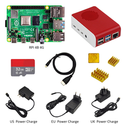 Originele Raspberry Pi4 Model B Kit 4 Gb Ram + Case Met Ventilator + Eu/Us/Uk Type -C 5 V/3A Power Charger + Hdmi Kabel + 32G Tf Card + Heatsink