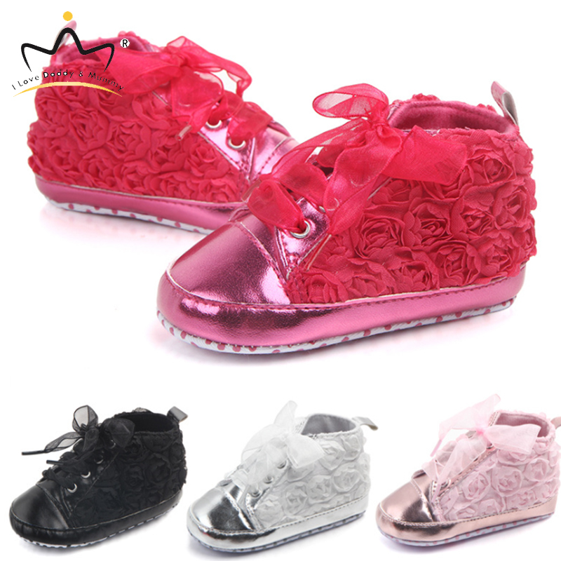 Cute Rose Floral Soft Sole Baby Shoes Bowknot Princess Baby Girl Shoes Sneaker Toddler Shoes Newborn Prewalker