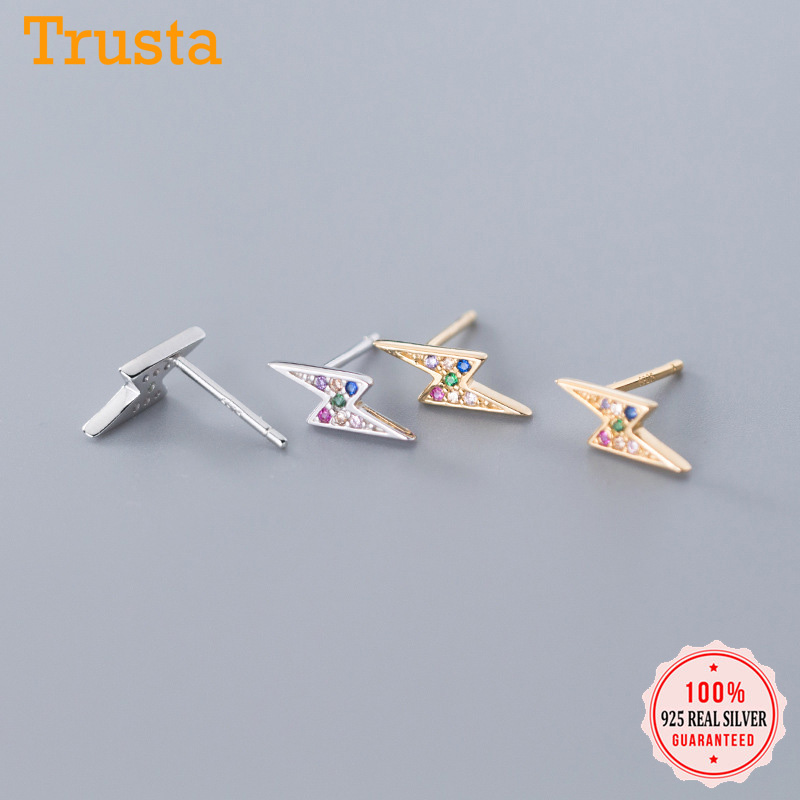 Trusta 925 Sterling Silver Jewelry Fashion Tiny Lightning Colorful CZ Stud Earrings For Women Silver 925 Jewelry DA893