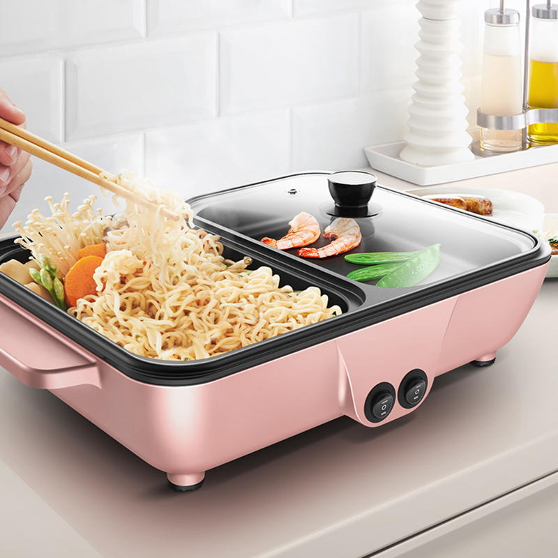 2-in-1 Mini Multi-Function Roasting and Boiling Hot Pot Electric Grill