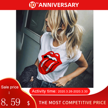 Women's T-shirt Red Lips Printed Tops O Neck Short Sleeve Female Tshirts 2020 Summer Casual Loose Fashion Ladies t shirts(China)