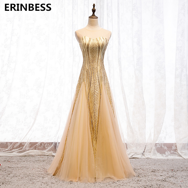 Real Photos Gold   Prom     Dress   Vestido De Festa 2020 New Fashion Vintage Tulle With Sequined O-Neck A-line Long   Prom     Dresses
